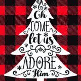Oh Come Let Us Adore Him Christmas Card Plaid